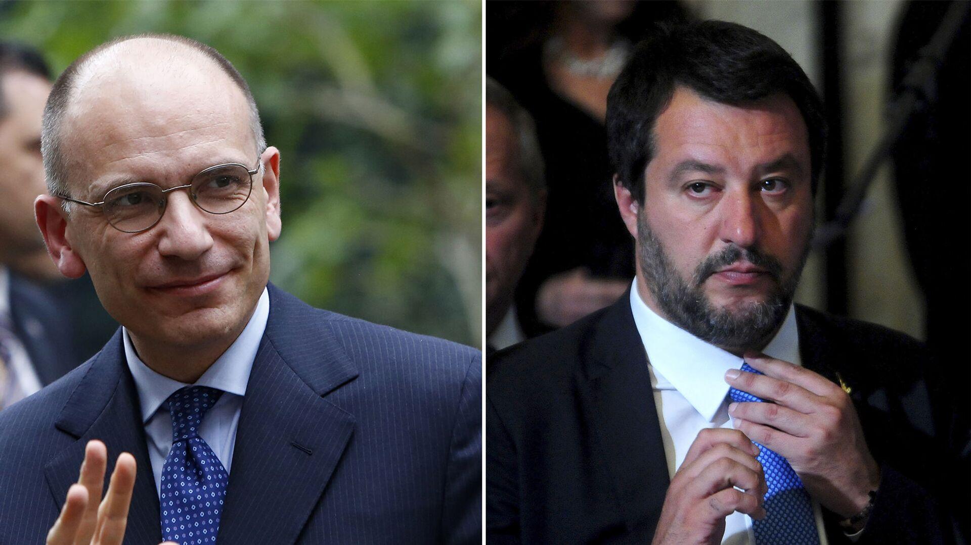 Il leader del PD, Enrico Letta e il segretario leghista Matteo Salvini - Sputnik Italia, 1920, 20.04.2021