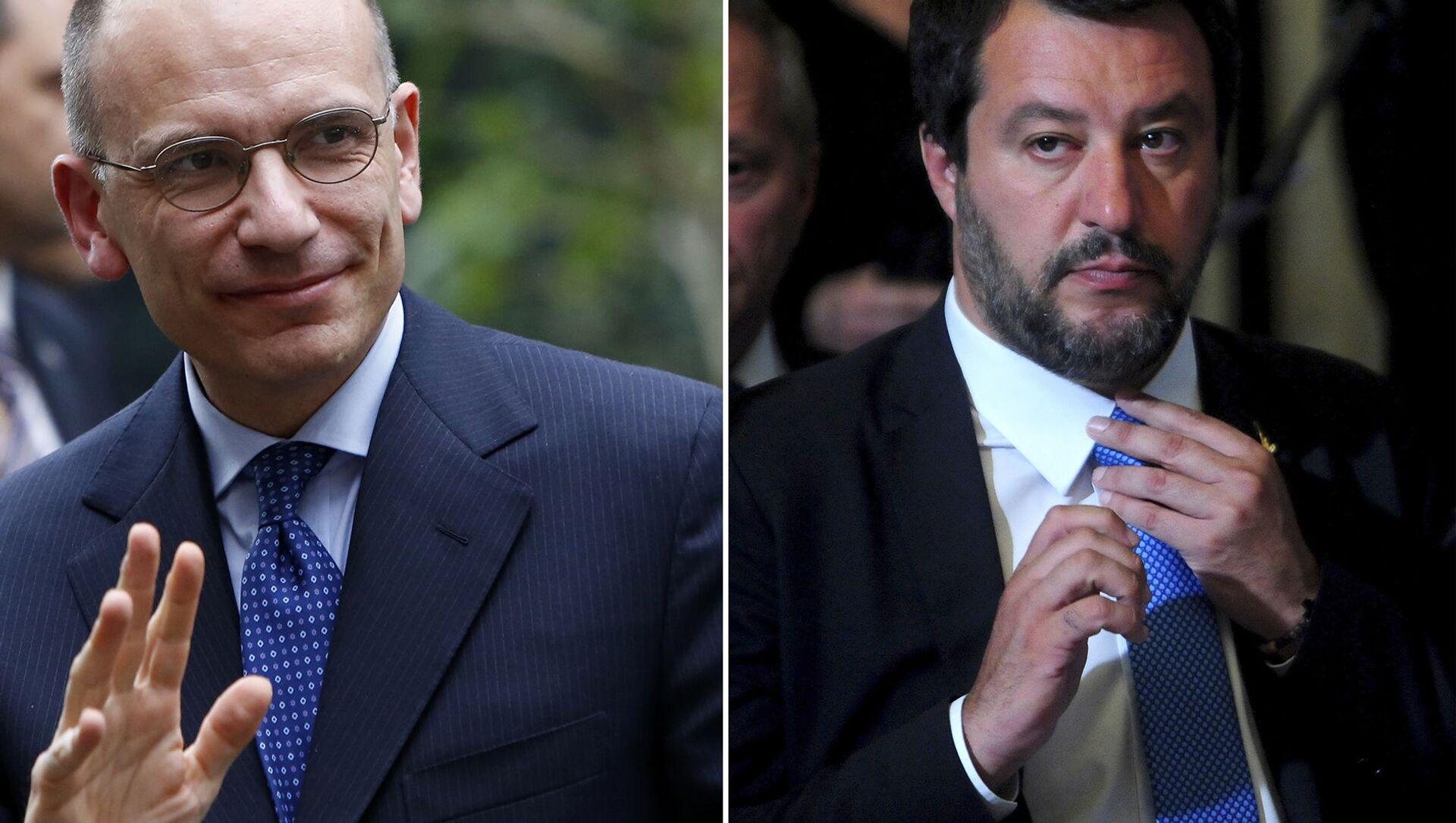 Il leader del PD, Enrico Letta e il segretario leghista Matteo Salvini - Sputnik Italia, 1920, 16.04.2021