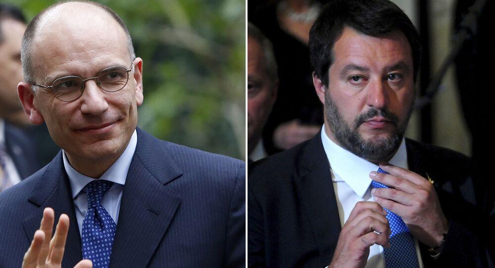 Il leader del PD, Enrico Letta e il segretario leghista Matteo Salvini