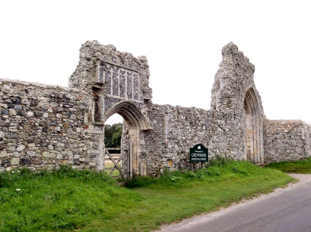 Rovine di Greyfriars friary Dunwich, Suffolk, Inghilterra, Regno Unito