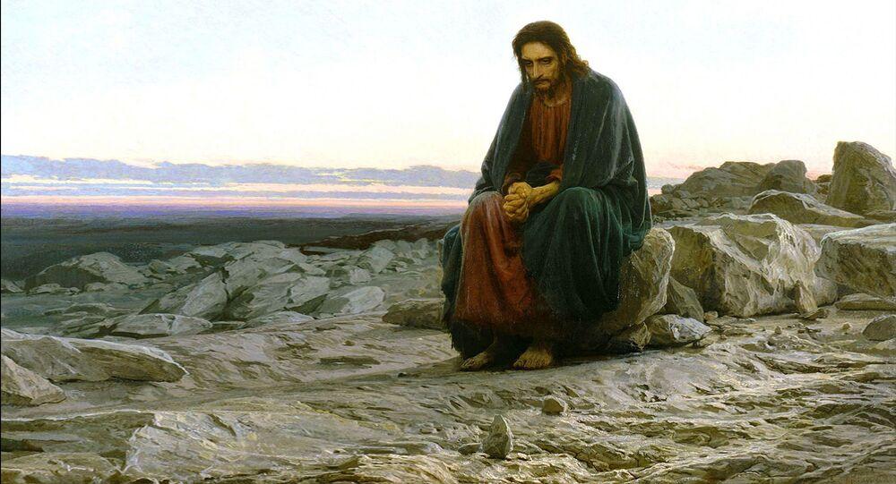"""Dipinto di Ivan N.Kramskoij """"La Tentazione Di Gesù Cristo Nel Deserto"""" 1872-74 ca - Mosca, Galleria Tretjakov"""
