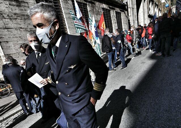 Presidio lavoratori Alitalia al MISE