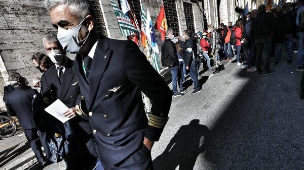 Presidio lavoratori Alitalia al MISE - Sputnik Italia