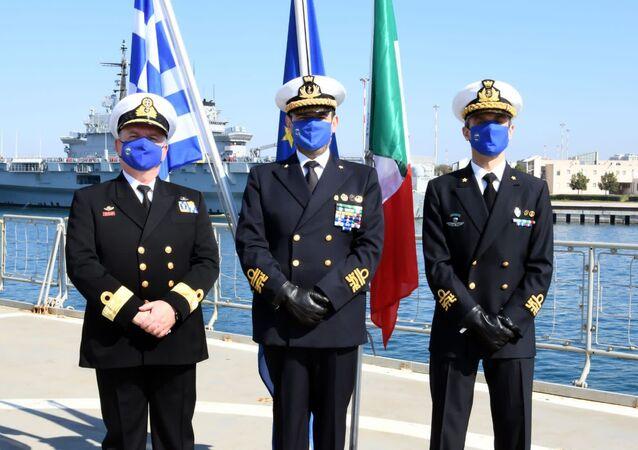Ammiraglio Fabio Agostini all'insediamento del nuovo Force Commander dell'Operazione EUNAVFOR MED IRINI, il Contrammiraglio della Marina Militare italiana, Stefano Frumento