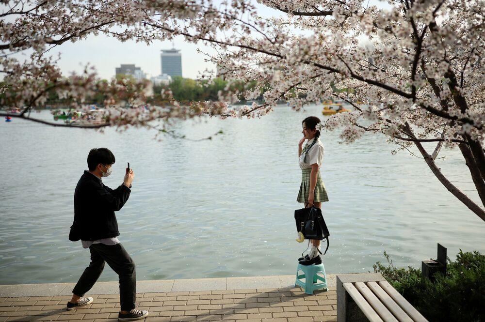 Le persone scattano una foto accanto a un albero in fiore durante la stagione della fioritura dei ciliegi nel Parco Yuyuantan a Pechino, Cina, il 31 marzo 2021