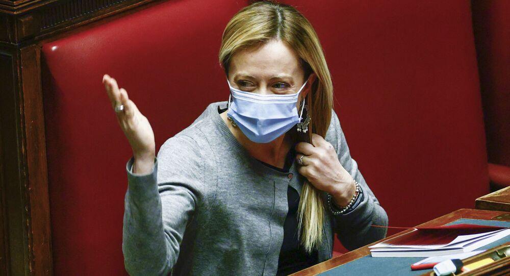 Leader del partito Fratelli d'Italia Giorgia Meloni
