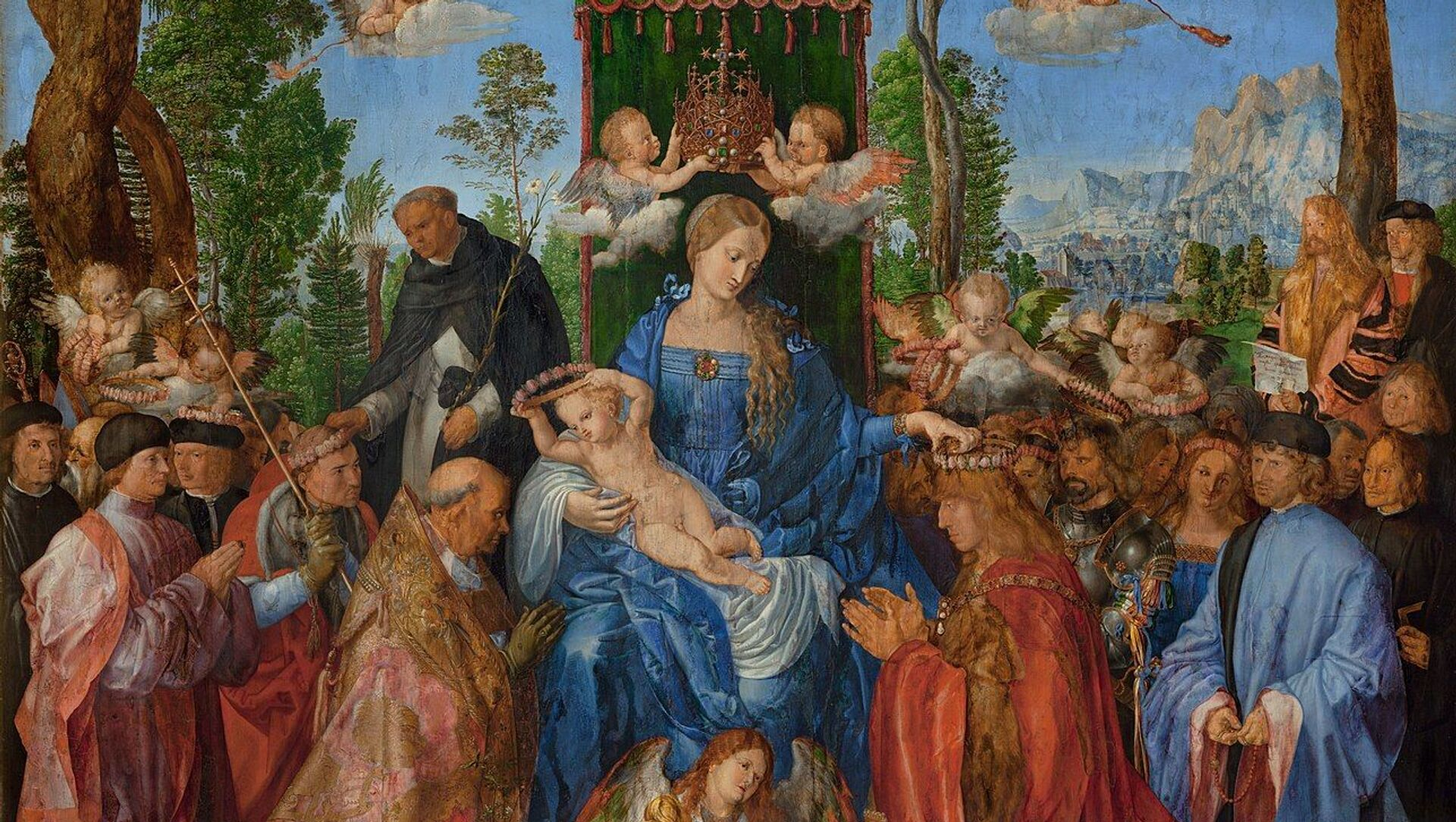 La Festa del Rosario (Rosenkranzfest) di Albrecht Dürer, datato 1506 - Sputnik Italia, 1920, 18.05.2021