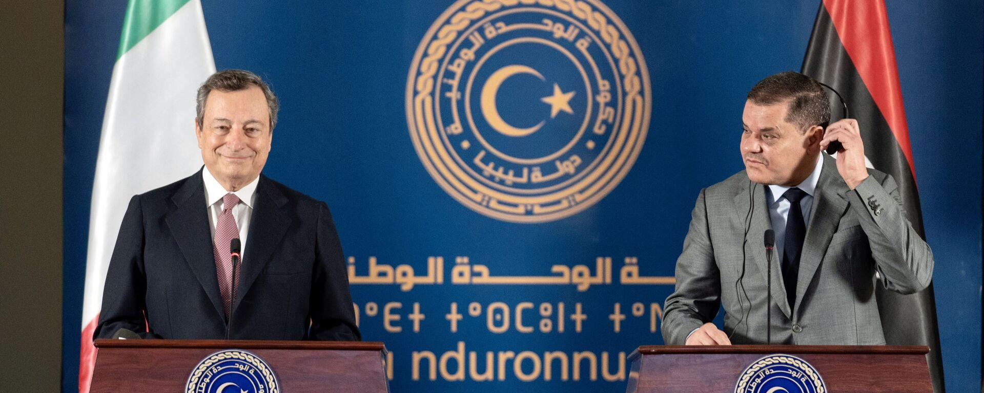 Le dichiarazioni congiunte del Presidente del Consiglio, Mario Draghi, e del Primo Ministro Abdelhamid Dabaiba, al termine del loro incontro - Sputnik Italia, 1920, 31.05.2021