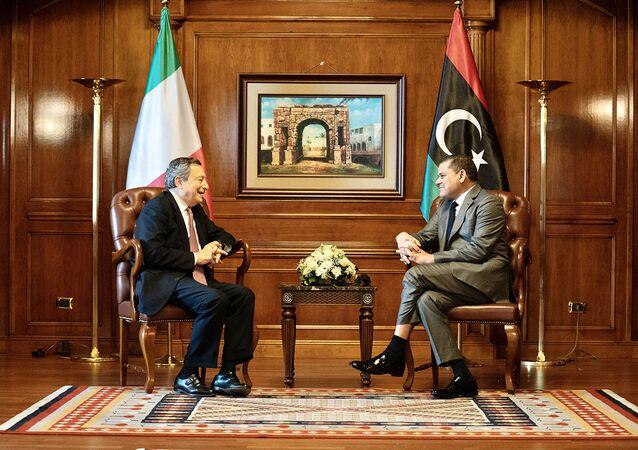 Il Presidente del Consiglio, Mario Draghi, a colloquio con il Primo Ministro Abdelhamid Dabaiba