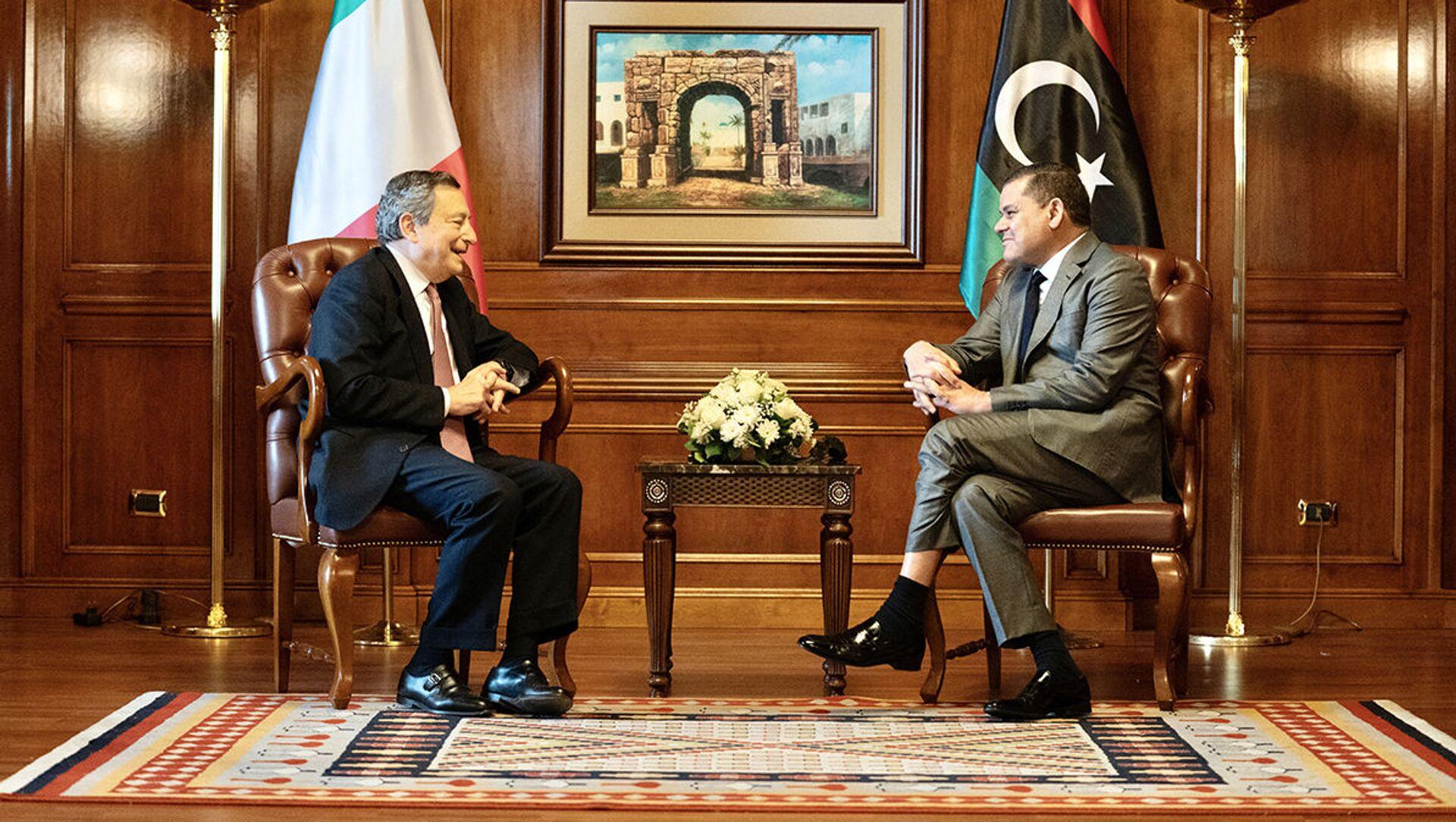 Il Presidente del Consiglio, Mario Draghi, a colloquio con il Primo Ministro Abdelhamid Dabaiba - Sputnik Italia, 1920, 18.05.2021