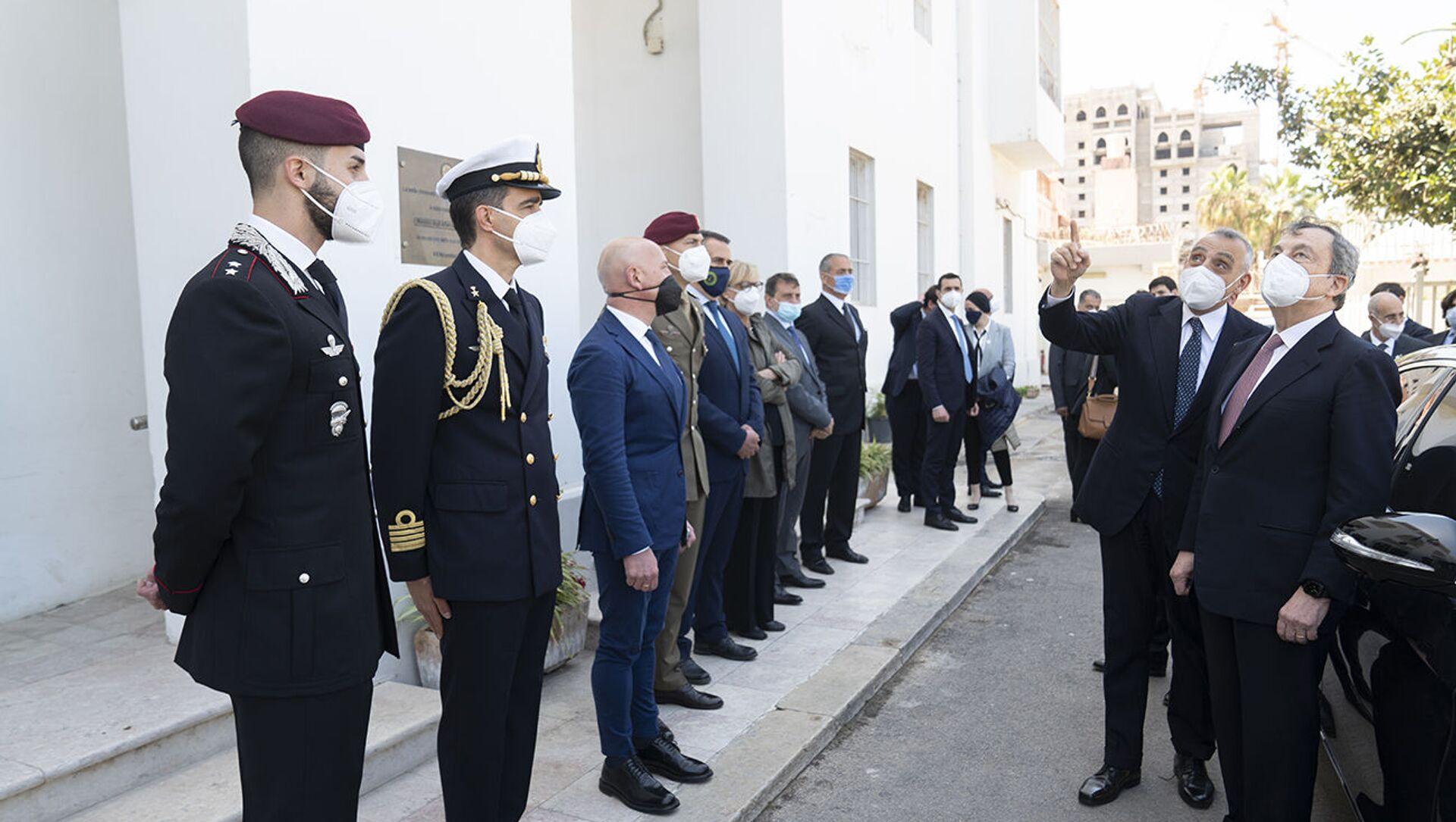 Draghi in visita in Libia Tripoli, 06/04/2021 - Il Presidente del Consiglio Mario Draghi in visita in Libia. - Sputnik Italia, 1920, 18.05.2021