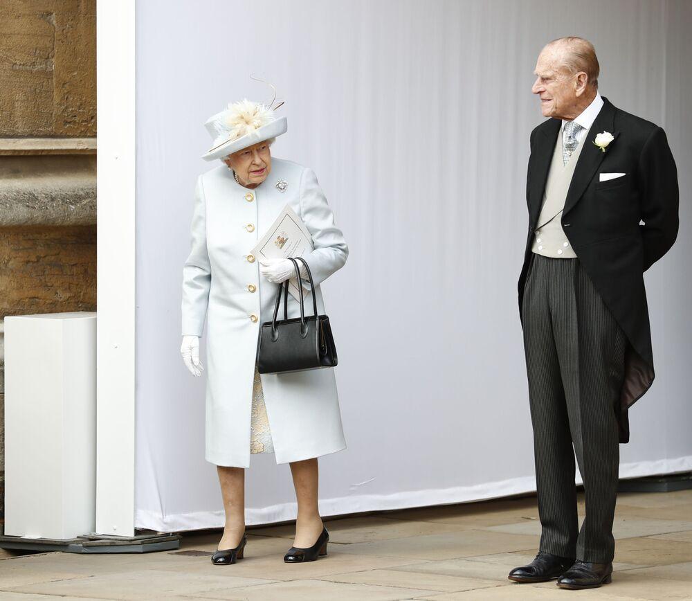 La regina Elisabetta e il principe Filippo al matrimonio della principessa Eugenia e Jack Brooksbank, 2018