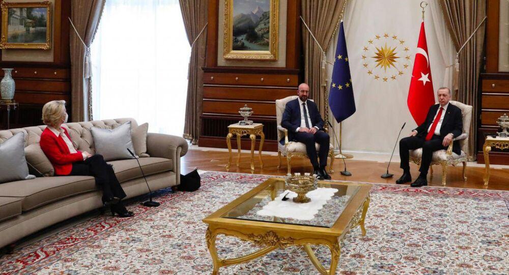 Ursula Von der Leyen, Charles Michel e Recep Tayyip Erdogan