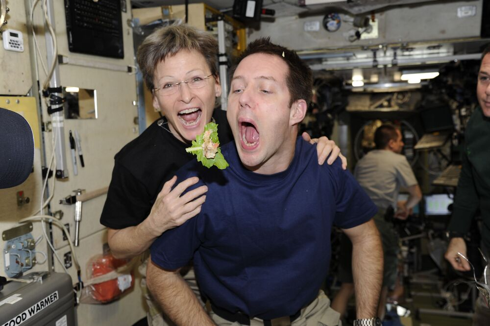 L'astronauta francese Thomas Pesquet e l'astronauta della NASA Peggy Whitson a bordo della ISS