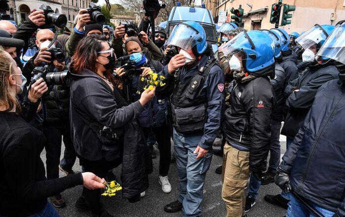 Proteste dei ristoratori a Roma, 13 aprile 2021