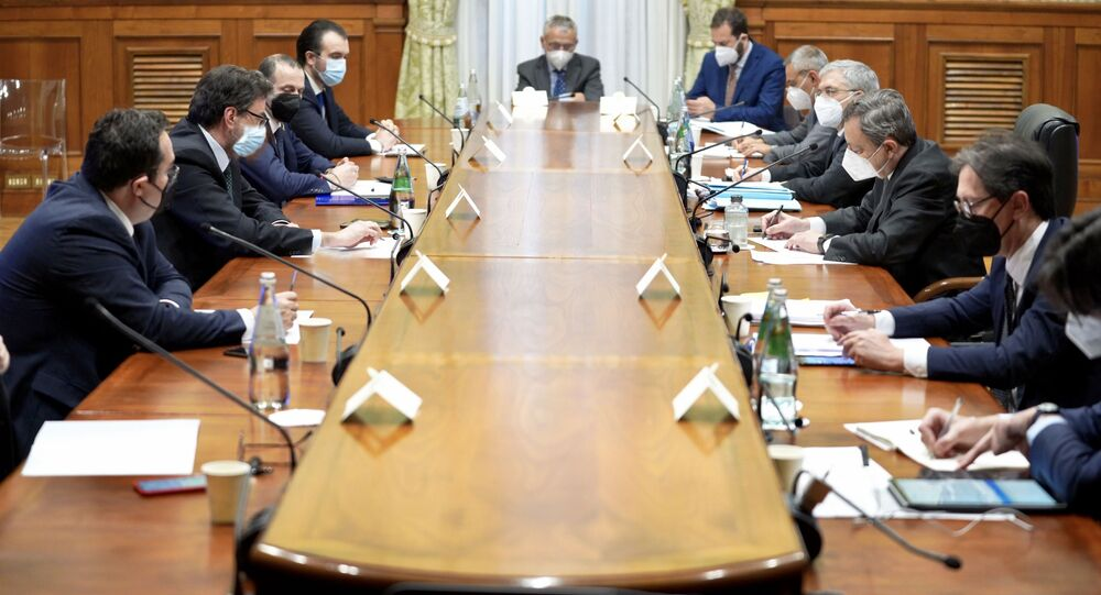 Palazzo Chigi, 15/04/2021 - Il Presidente del Consiglio, Mario Draghi, incontra la delegazione della Lega per un confronto sul Piano nazionale di ripresa e resilienza.