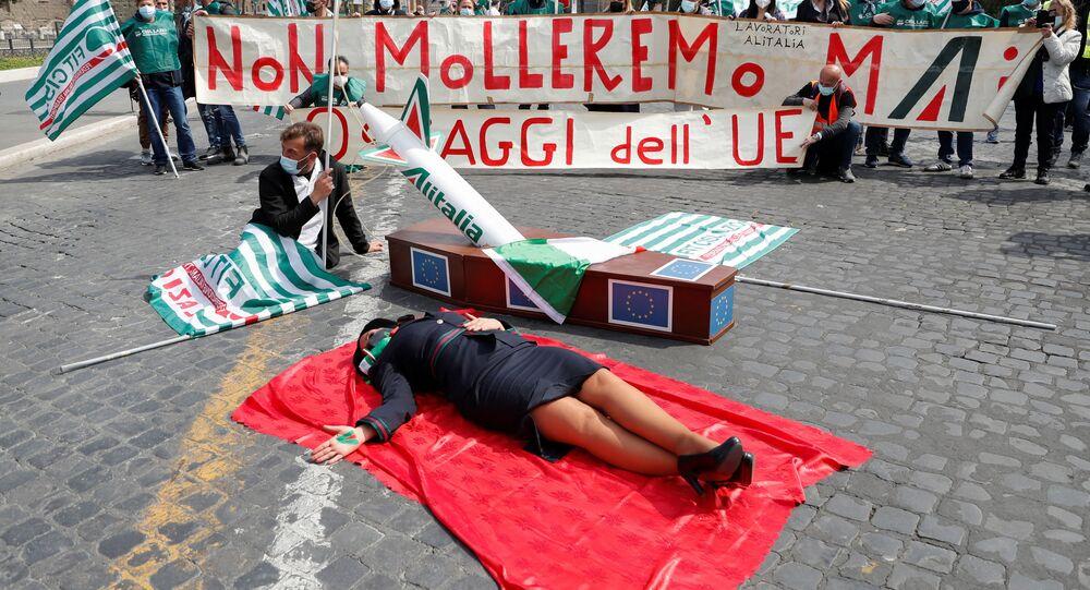 Manifestazione dei lavoratori Alitalia