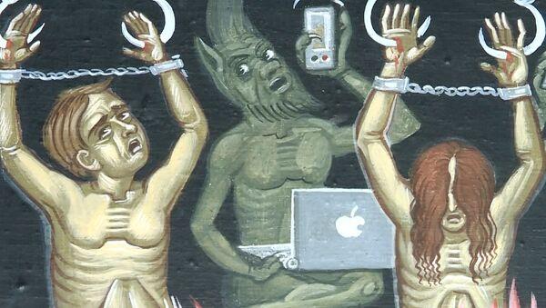 """Diavoletti con lo smartphone: in una chiesa russa affreschi con i """"nuovi peccatori di internet""""  - Sputnik Italia"""