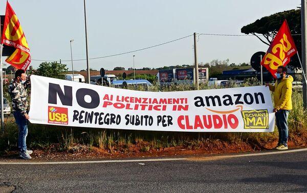 Predisio Usb davanti allo stabilimento Amazon di Pomezia - Sputnik Italia