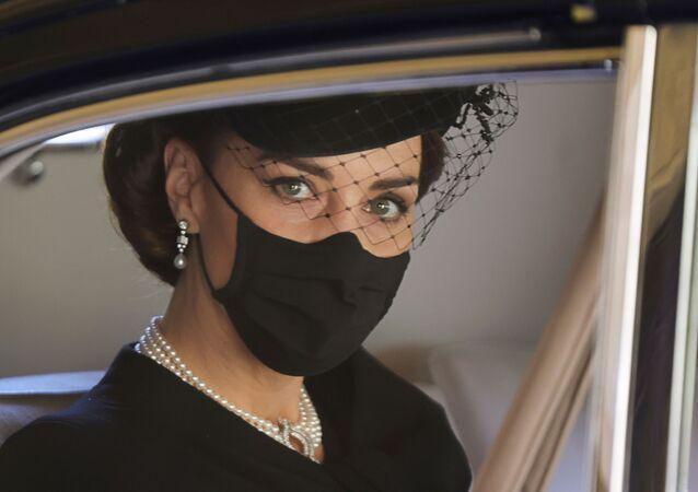 La Duchessa di Cambridge durante i funerali del Principe Filippo