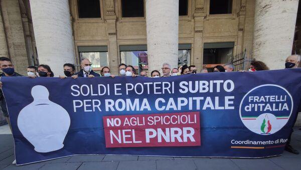 Flash mob FdI Recovery Roma - Sputnik Italia
