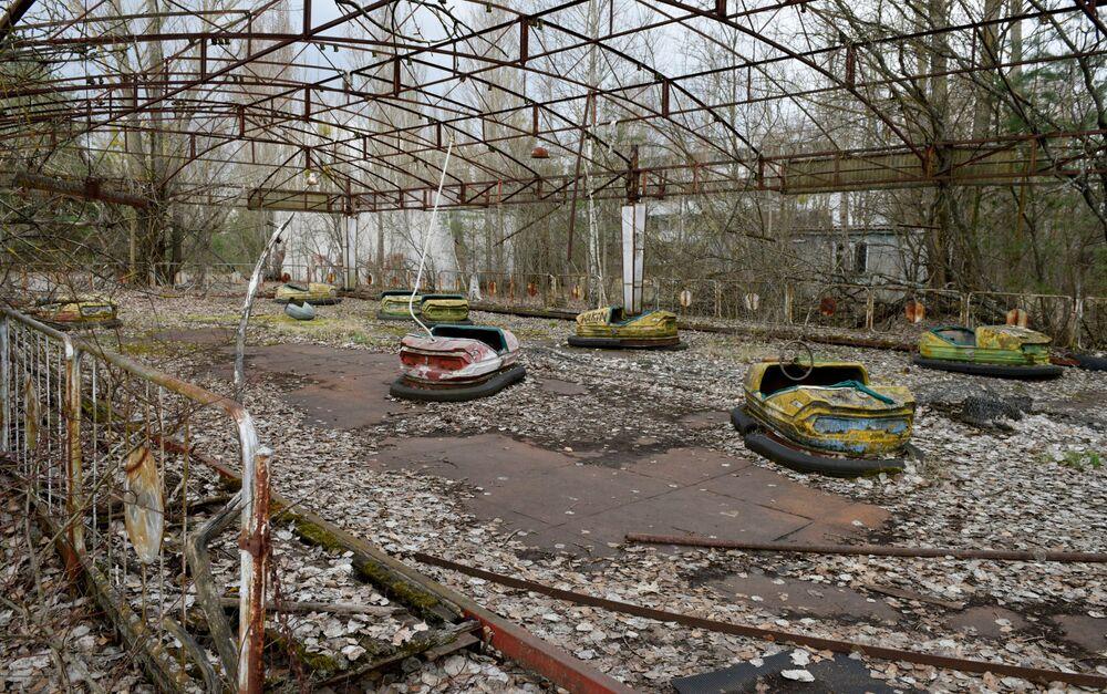 Sarcofago nella zona di esclusione della centrale nucleare di Chernobyl