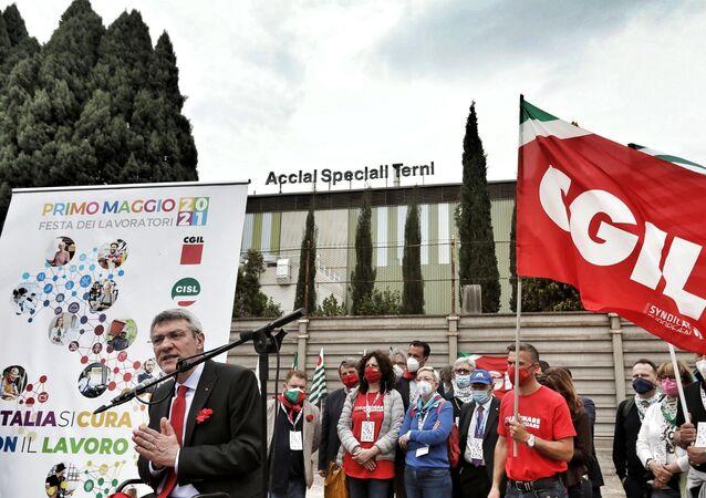 Maurizio Landini alla manifestazione del 1° maggio a Terni