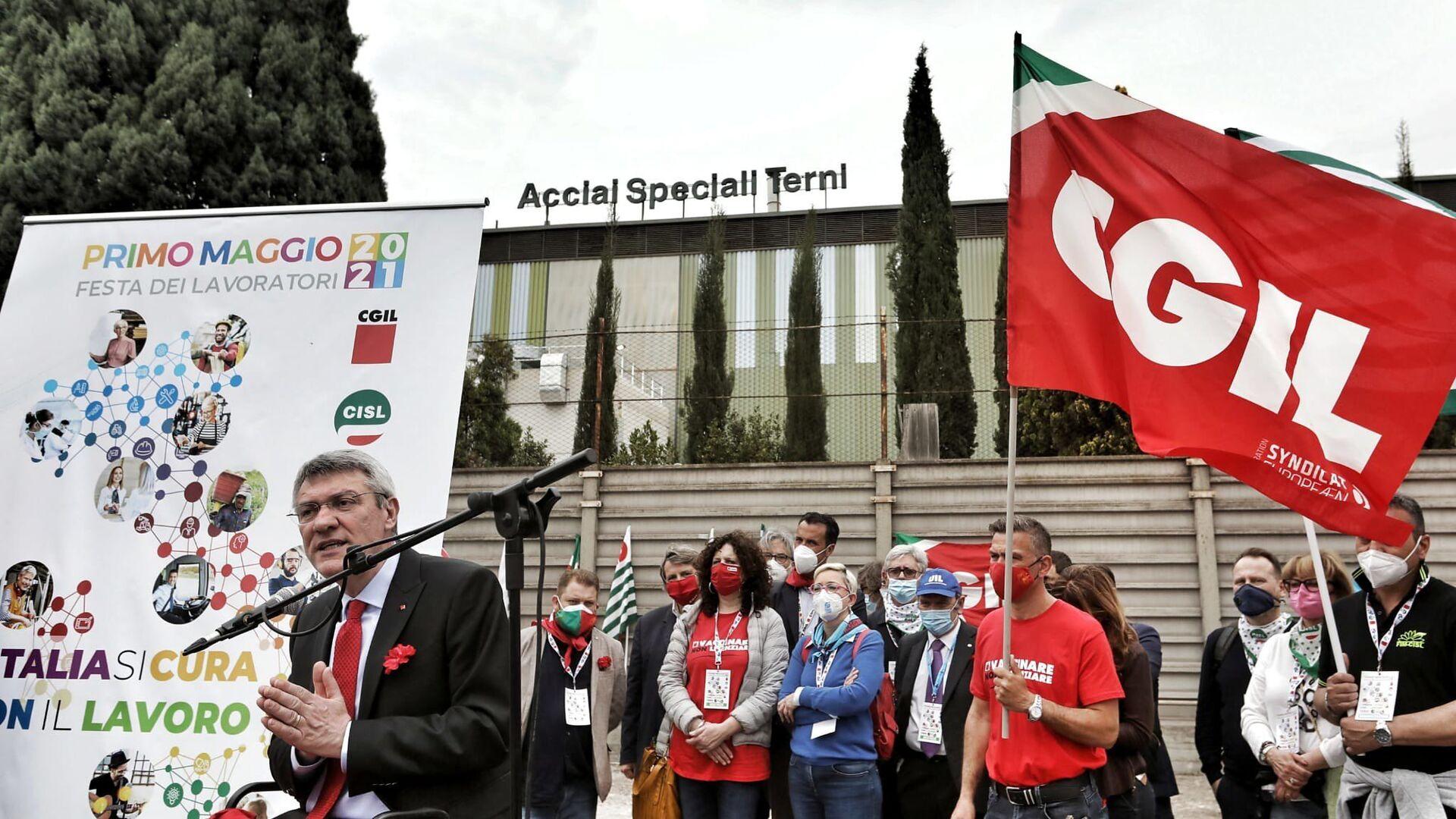 Maurizio Landini alla manifestazione del 1 maggio a Terni - Sputnik Italia, 1920, 25.05.2021