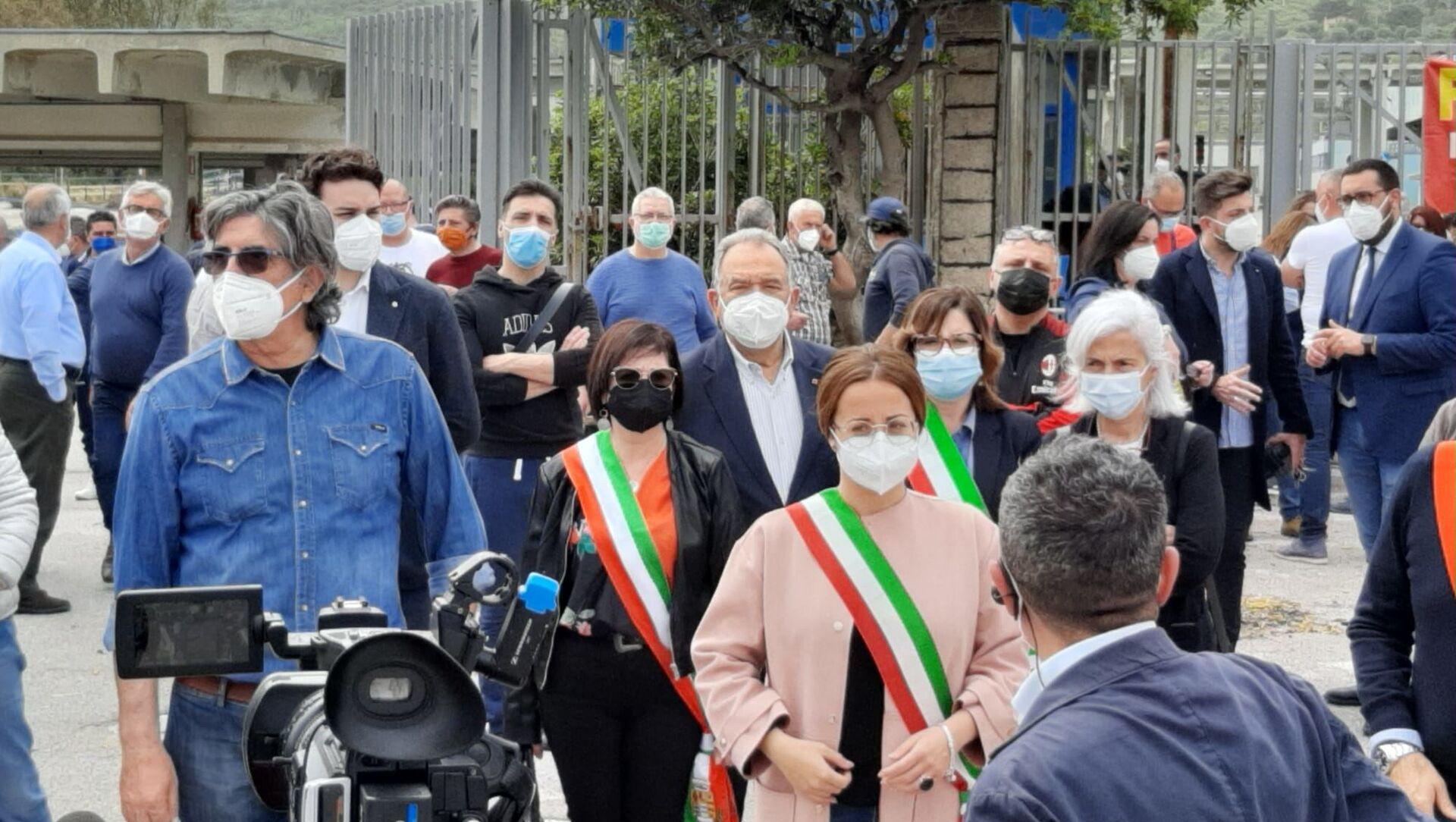 1 maggio presidio lavoratori Blutec Termini Imerese - Sputnik Italia, 1920, 18.05.2021