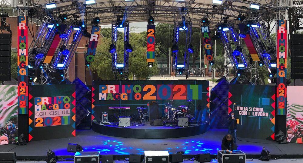 Il palco del Concerto del 1° Maggio 2021