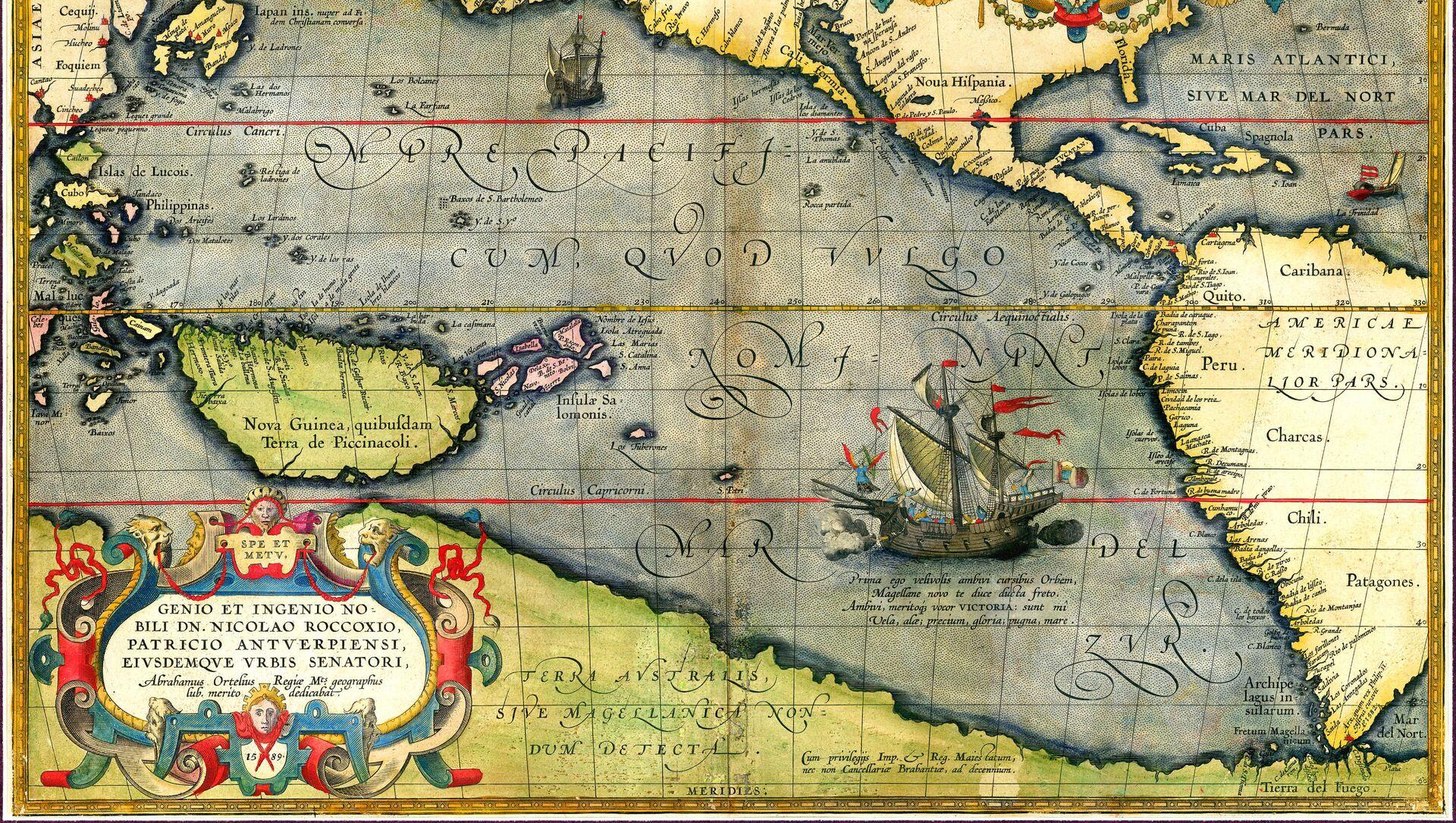 La Victoria, la nave di Ferdinando Maglelano, sulla carta di Abraham Ortelius  - Sputnik Italia, 1920, 03.05.2021