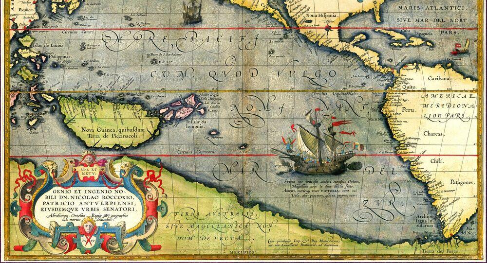 La Victoria, la nave di Ferdinando Maglelano, sulla carta di Abraham Ortelius