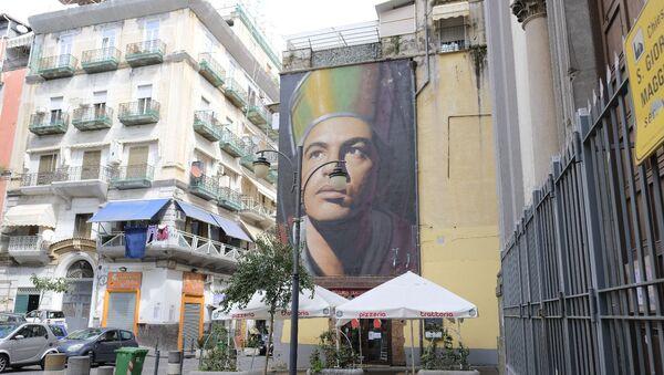 Murales di San Gennaro a Piazza Crocelle ai Mannesi a Forcella, Napoli - Sputnik Italia