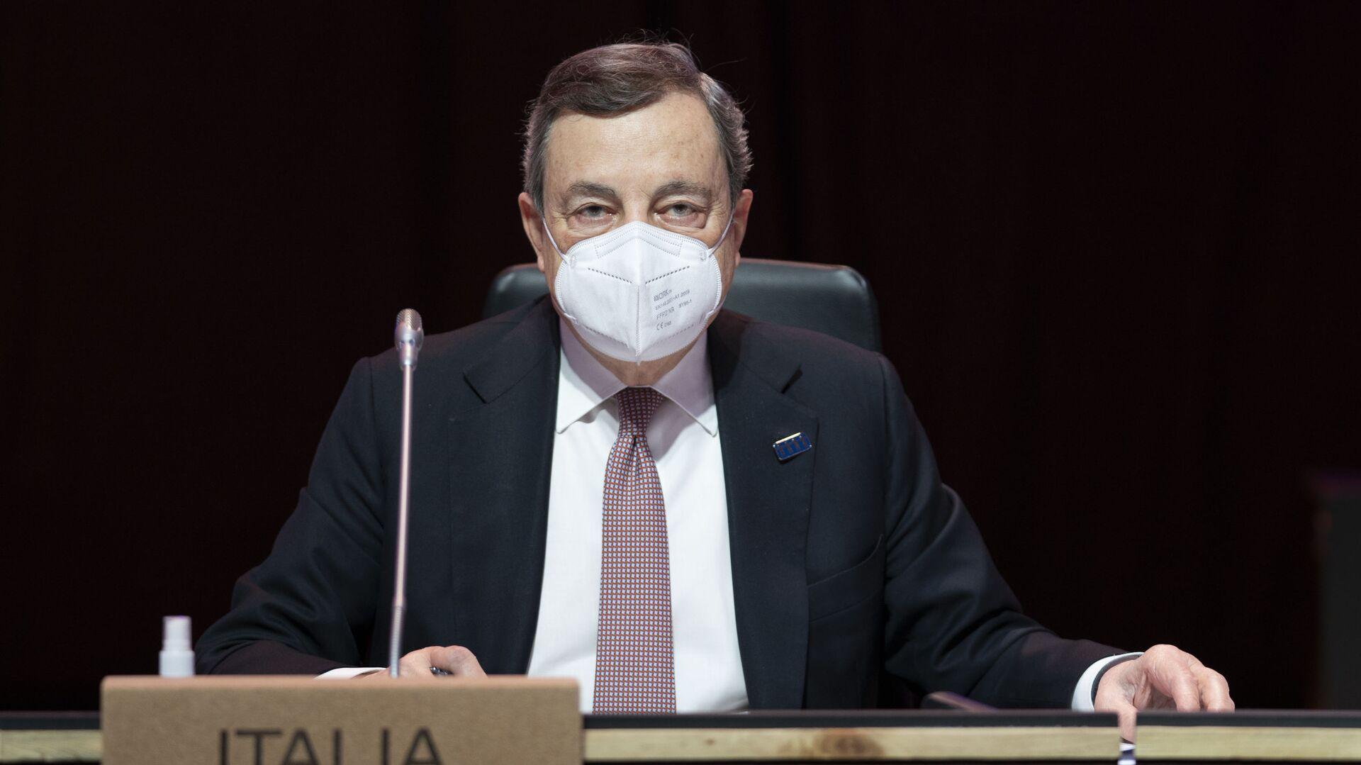 Il Presidente del Consiglio, Mario Draghi, alla Riunione informale dei Capi di Stato e di Governo del Consiglio europeo. - Sputnik Italia, 1920, 18.05.2021