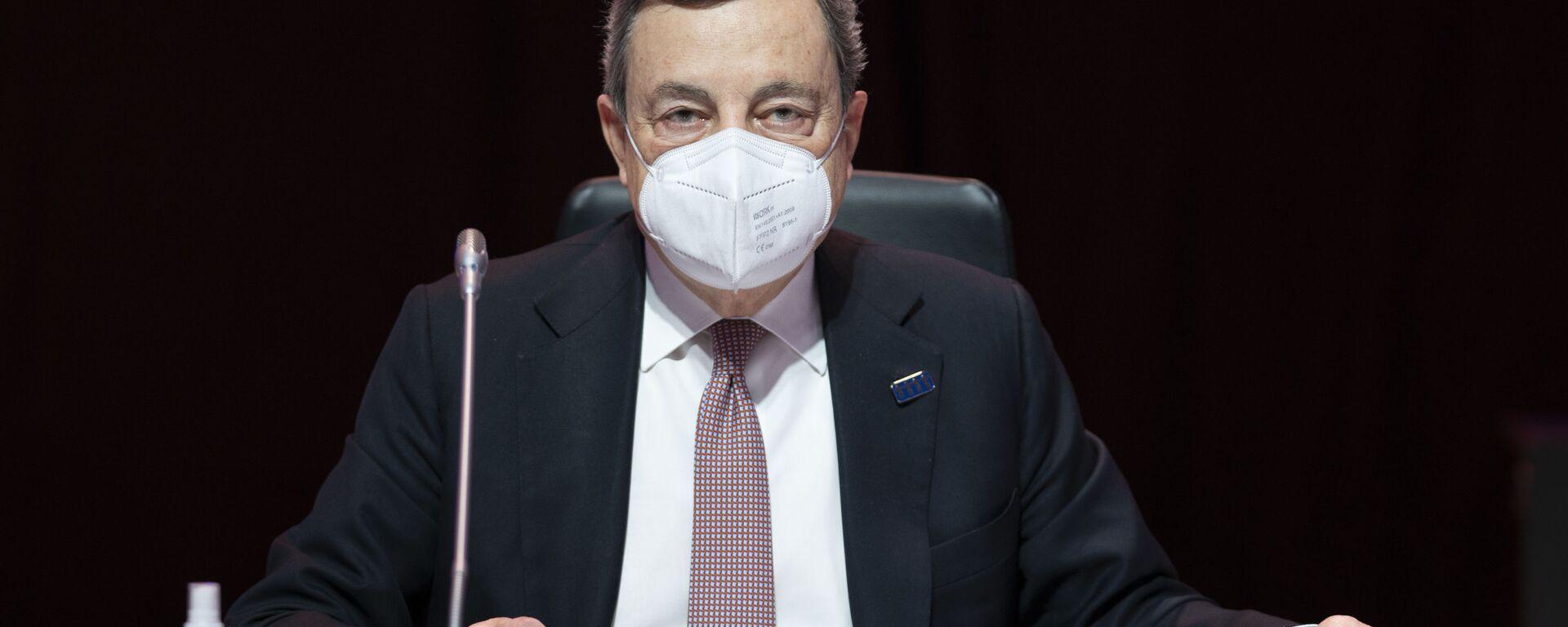 Il Presidente del Consiglio, Mario Draghi, alla Riunione informale dei Capi di Stato e di Governo del Consiglio europeo. - Sputnik Italia, 1920, 08.05.2021
