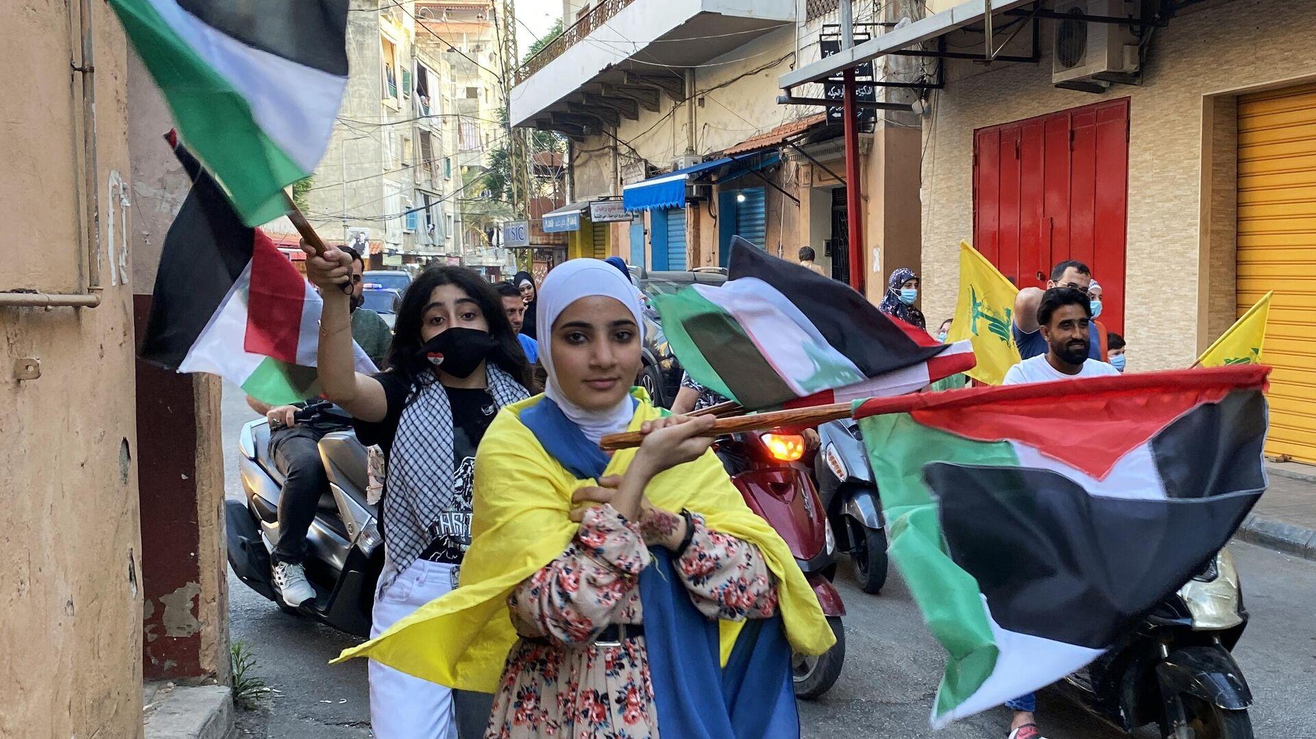 Una manifestazione a sostegno di Palestina a Beirut - Sputnik Italia, 1920, 21.05.2021