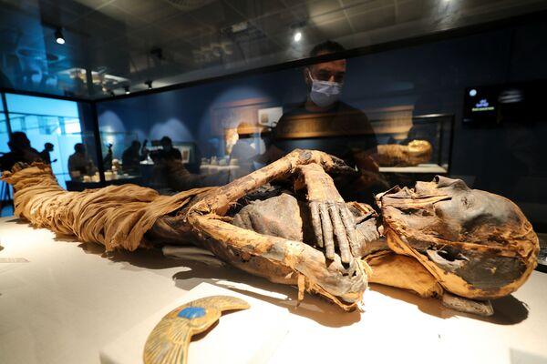 Un visitatore guarda una mummia ben conservata nel nuovo museo dell'aeroporto internazionale del Cairo, in Egitto.  - Sputnik Italia