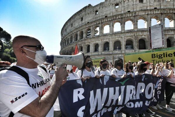 Un flash mob dei lavoratori Whirlpool a Roma, 27 maggio 2021 - Sputnik Italia