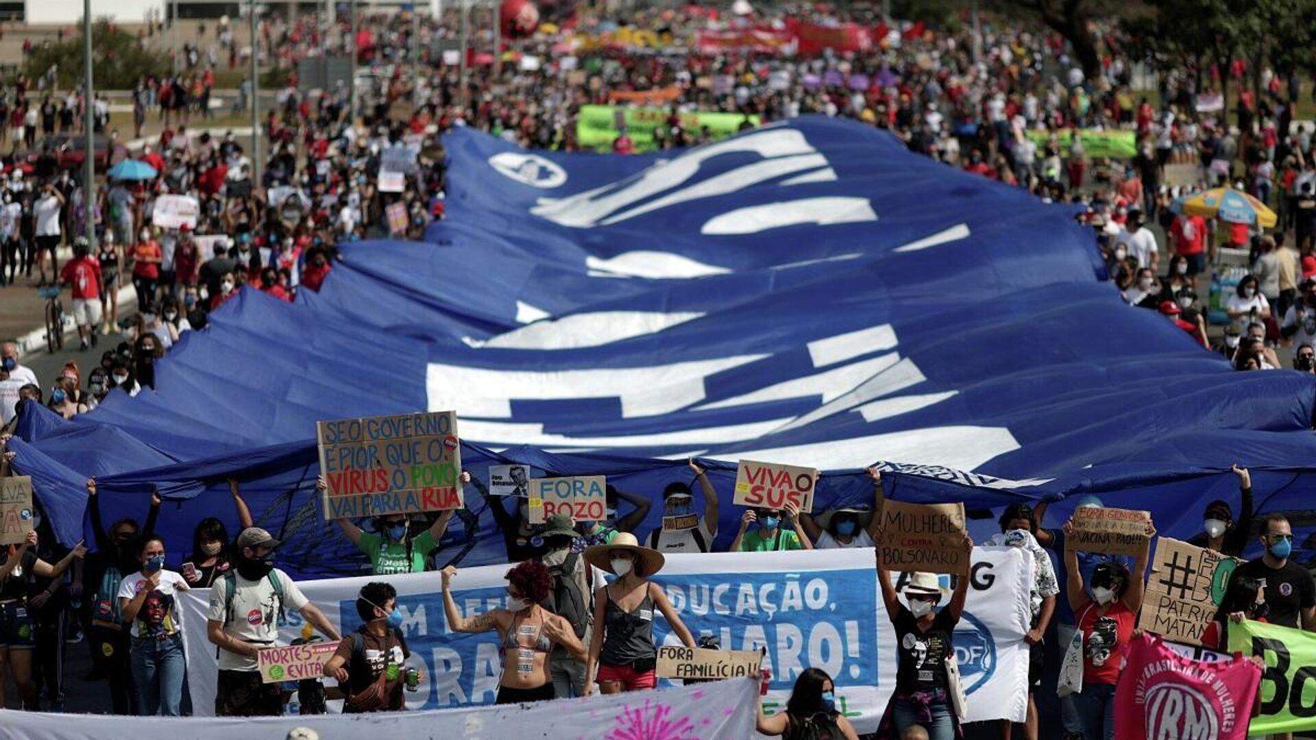 Protesta contro il governo di Bolsonaro in Brasile - Sputnik Italia, 1920, 29.05.2021