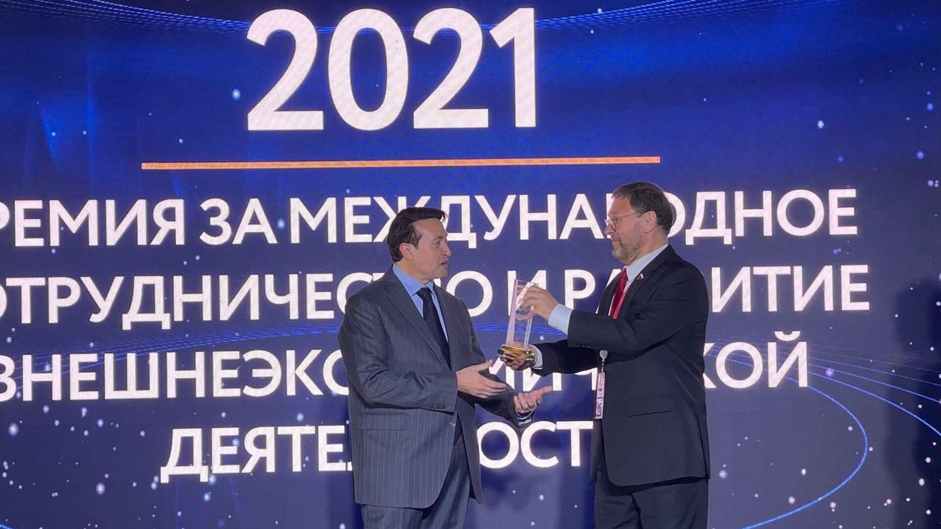 """Vincenzo Trani insignito del Premio """"International Cooperation Trade Award"""" per aver favorito lo sviluppo della cooperazione commerciale tra Italia e Russia allo SPIEF 2021 - Sputnik Italia, 1920, 03.06.2021"""