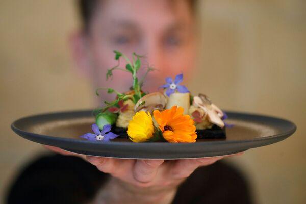 Lo chef francese Laurent Veyet mostra un piatto mentre posa nel suo ristorante Inoveat che serve cibo a base di insetti a Parigi, Francia, 12 maggio 2021. - Sputnik Italia