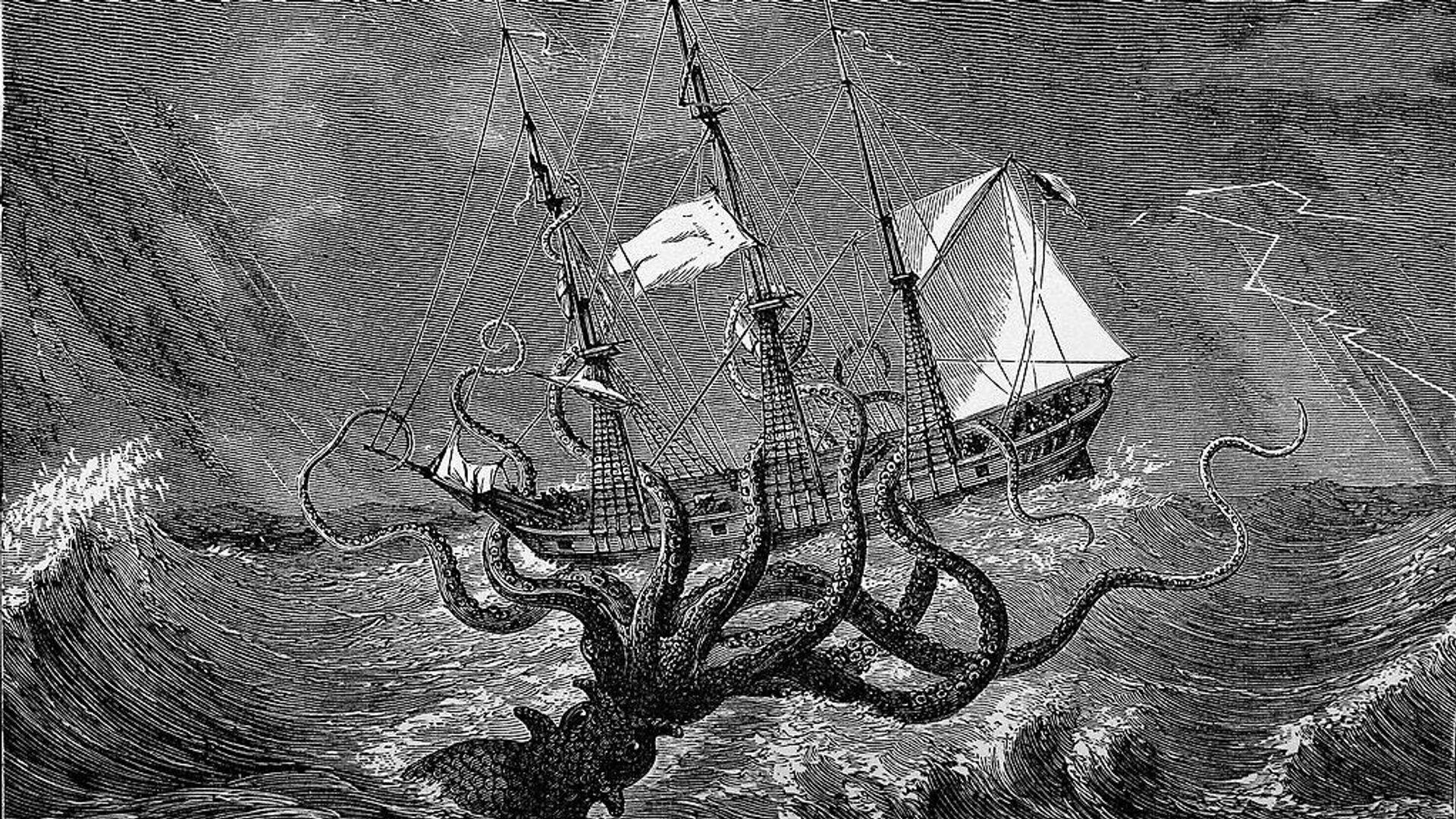 Illustrazione circa del 1800 dove un polpo gigante attacca una nave  - Sputnik Italia, 1920, 07.06.2021
