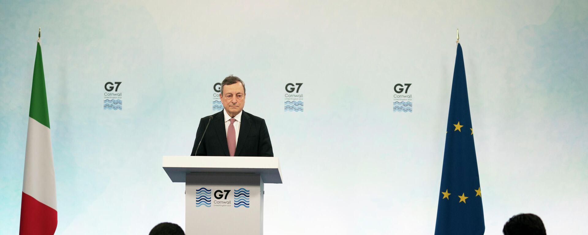 Mario Draghi al termine del G7 - Sputnik Italia, 1920, 23.06.2021