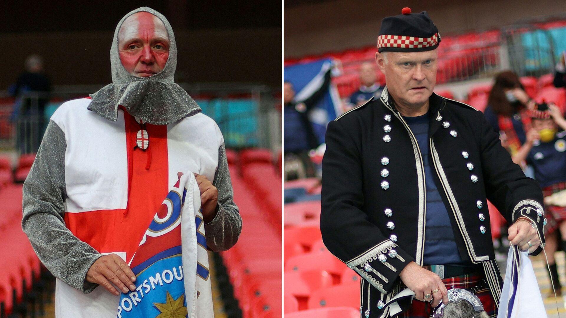 Болельщики из Англии (слева) и из Шотландии перед футбольным матчем ЕВРО-2020 между Англией и Шотландией в Лондоне - Sputnik Italia, 1920, 02.07.2021