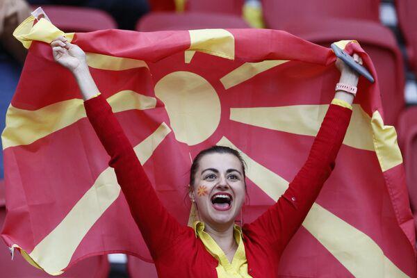 Una tifosa della Macedonia del Nord prima della partita Macedonia del Nord - Paesi Bassi alla Johan Cruyff Arena di Amsterdam, 21 giugno 2021. - Sputnik Italia