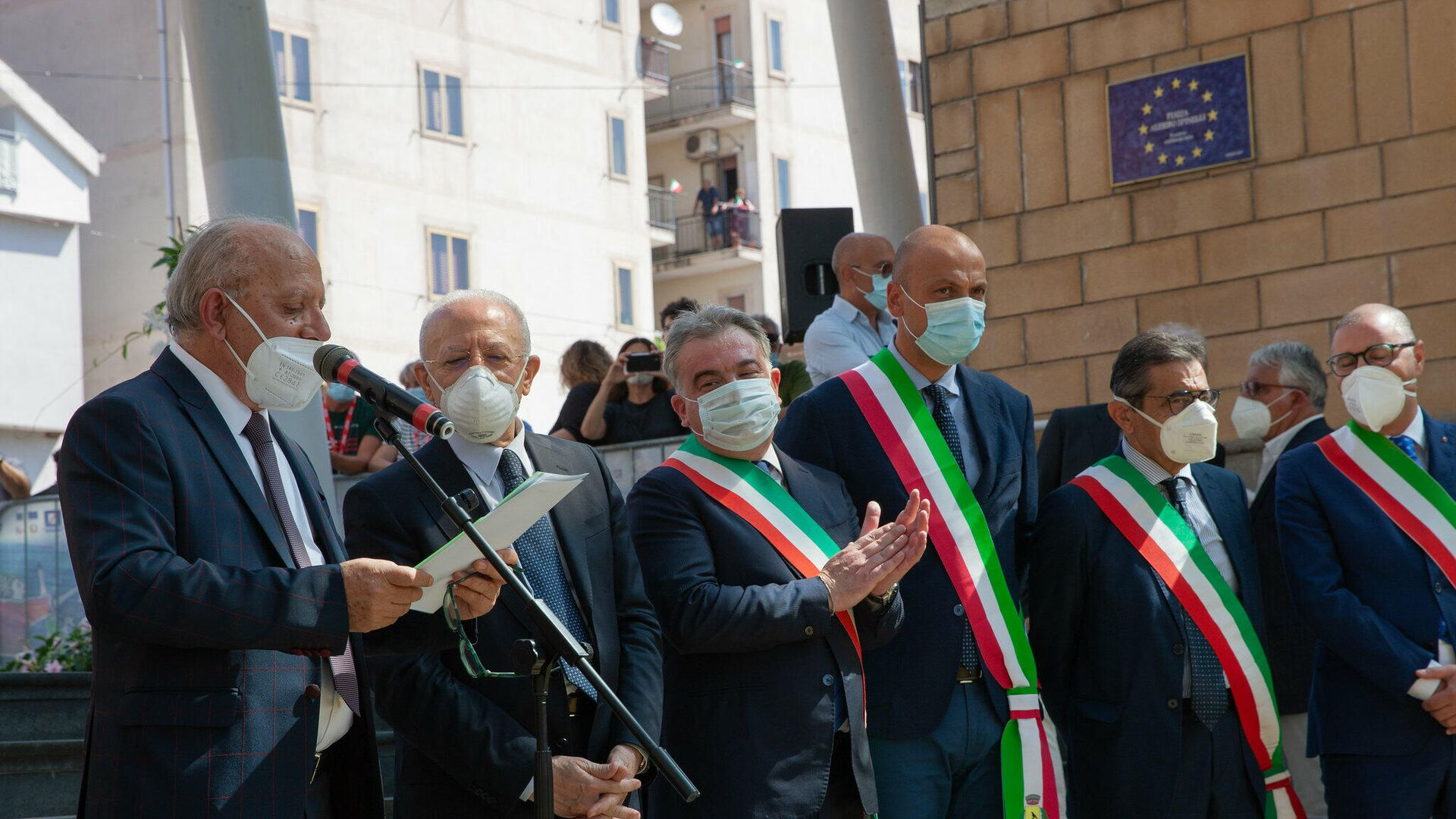 Governatore campano Vincenzo De Luca, in visita al Giffoni Festival per inaugurazione del Giffoni50Plus - Sputnik Italia, 1920, 21.07.2021