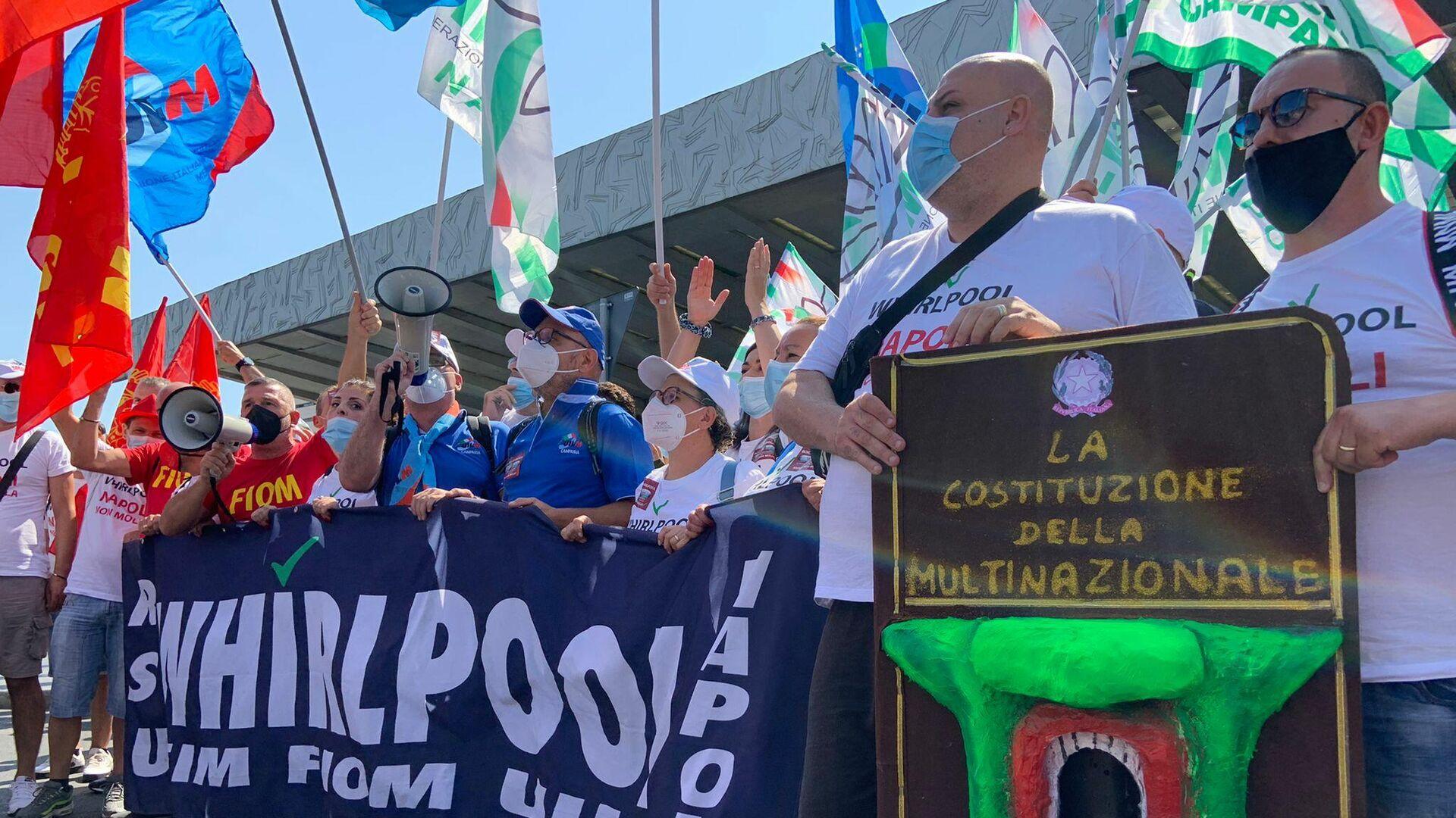 Manifestazione lavoratori Whirlpool a Roma, 22 luglio 2022 - Sputnik Italia, 1920, 22.07.2021