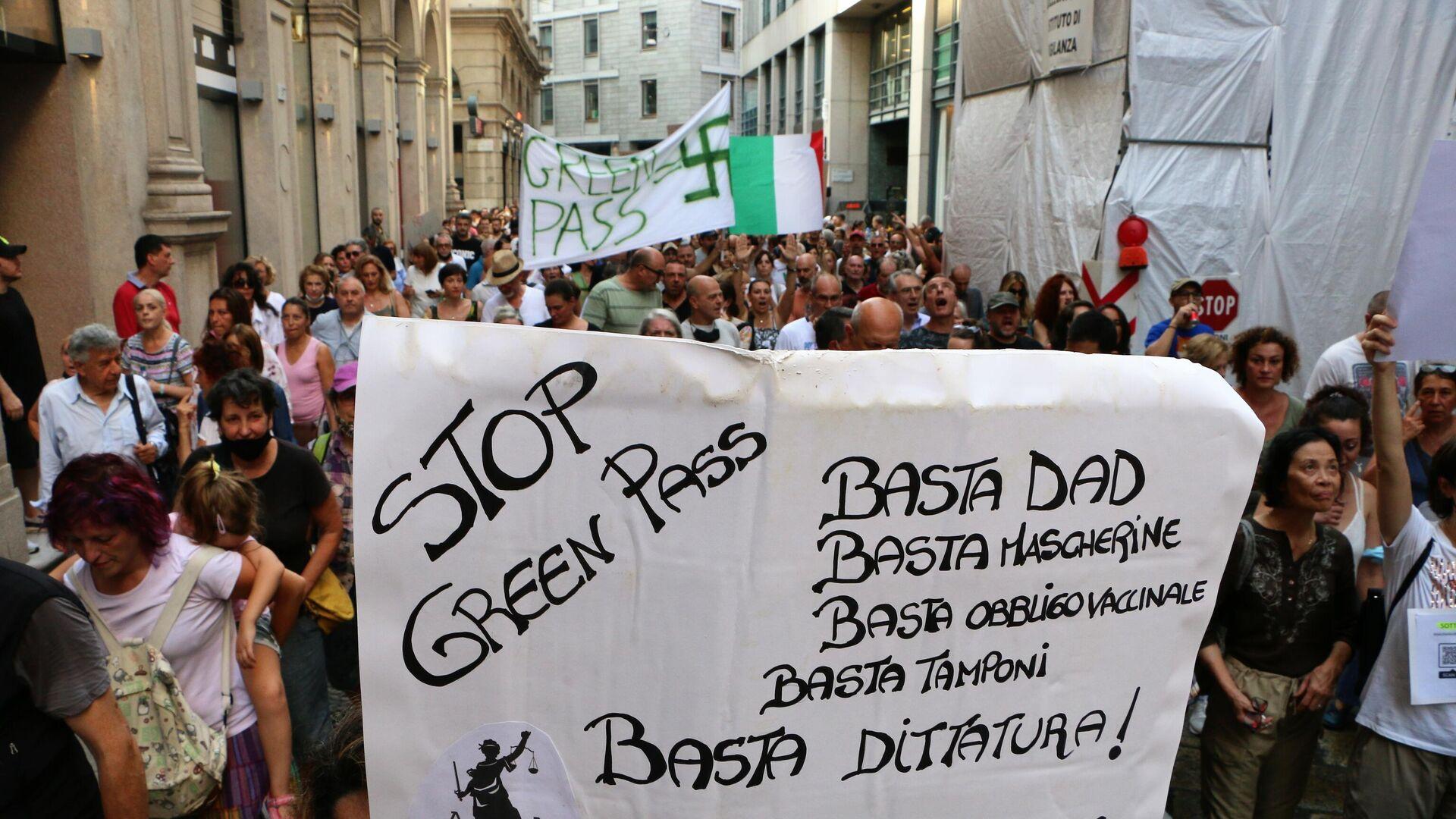 Manifestazione No green pass a Milano - Sputnik Italia, 1920, 26.07.2021