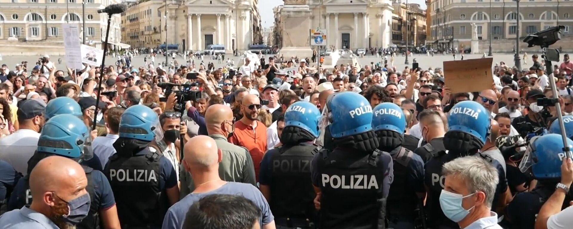 """""""No Green Pass"""", centinaia di dimostranti in Piazza del Popolo in manifestazione organizzata da IoApro - Sputnik Italia, 1920, 28.07.2021"""