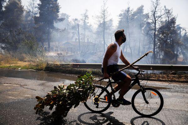 Un uomo porta un ramo su una bicicletta mentre scoppia un incendio nel villaggio di Rodopoli, a nord di Atene, Grecia, 27 luglio 2021. - Sputnik Italia